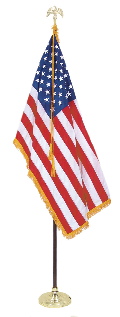 Indoor american flag set with 3 x 5 ft us flag and 8 ft for 3 flag pole etiquette