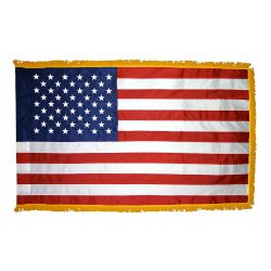 Indoor American Flag with Pole Hem and Fringe